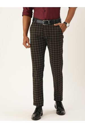 HANCOCK Men Brown & White Slim Fit Checked Formal Trousers