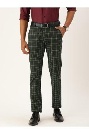 HANCOCK Men Green & White Slim Fit Checked Formal Trousers