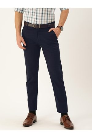 HANCOCK Men Navy Blue Slim Fit Checked Formal Trousers