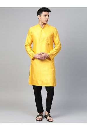 Fab India Men Yellow Woven Design Straight Kurta