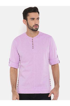 The Indian Garage Co Men Violet Solid Straight Kurta
