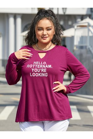 YOINS Plus Size Letter Hollow Design Long Sleeves Tee