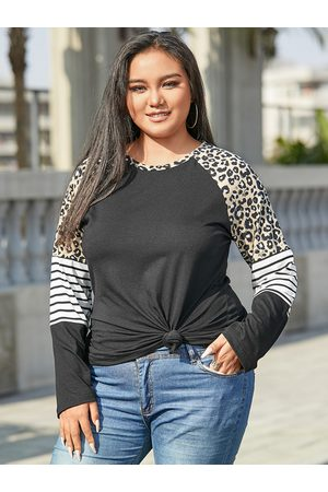 YOINS Women Long Sleeve - Plus Size Crew Neck Striped Patchwork Long Sleeves Tee