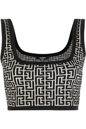 Balmain Women Vests - Cropped monogram jacquard vest top