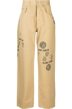 ARIES Men Straight - Logo graphic print straight-leg jeans