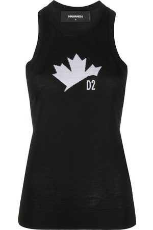 Dsquared2 Women Tank Tops - Maple leaf motif knitted tank top