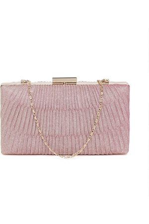 Anouk Pink Shimmery Textured Box Clutch