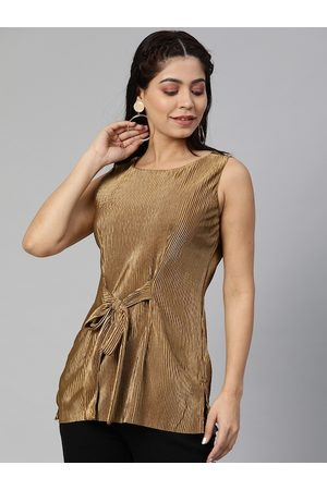 Global Desi Women Copper-Toned Solid Accordion Pleated Top With Waist Tie-Up
