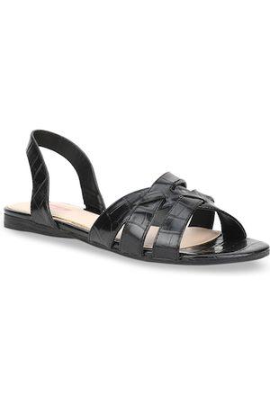 Bata Women Black Solid PU Open Toe Flats