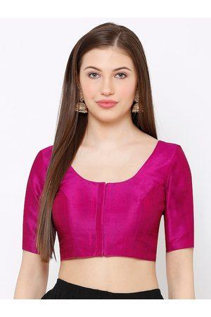 SALWAR STUDIO Women Purple Solid Readymade Saree Blouse