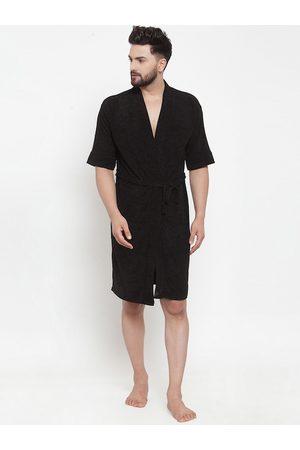 ELEVANTO Men Black Solid Bath Robe