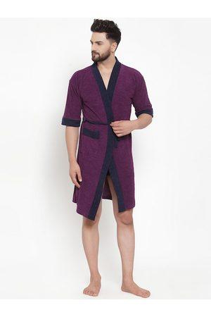 ELEVANTO Men Bathrobes - Men Purple & Navy Blue Solid Bath Robe