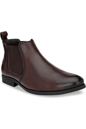 San Frissco Men Brown Solid Synthetic Mid-Top Flat Boots