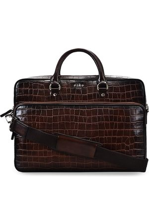Eske Men Brown Textured Leather Laptop Bag