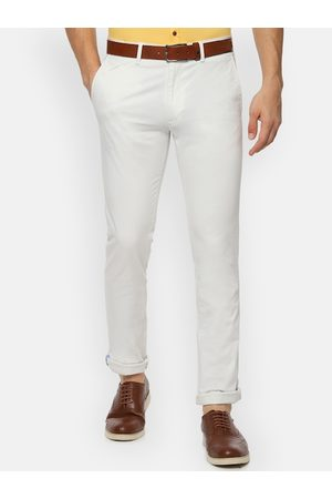 V Dot Men White Slim Fit Solid Regular Trousers