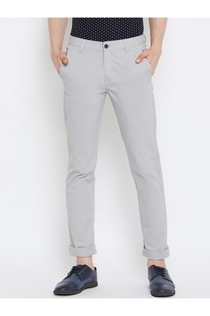 OCTAVE Men Grey Slim Fit Solid Regular Trousers