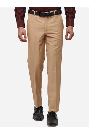 JB STUDIO Men Khaki Slim Fit Solid Formal Trousers