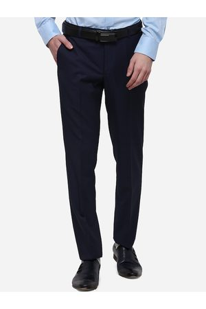 JADE BLUE Men Navy Blue Skinny Fit Self Design Formal Trousers
