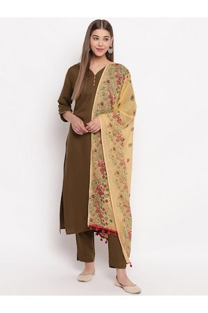 Janasya Women Olive Green & Beige Solid Kurta with Trousers & Dupatta