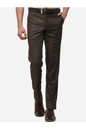 METAL Men Formal Trousers - Men Brown Slim Fit Self Design Formal Trousers