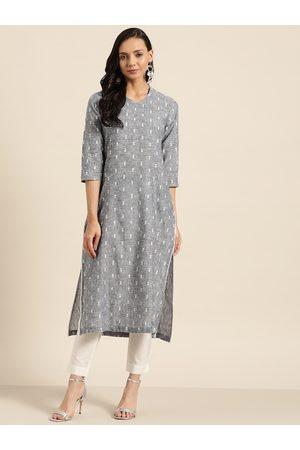 Sangria Women Grey & White Woven Design Kurta with Trousers
