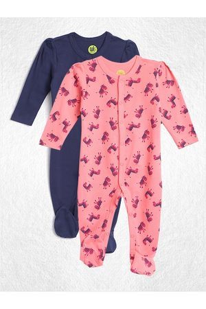 YK Infant Girls Pack of 2 Pure Cotton Sleepsuits