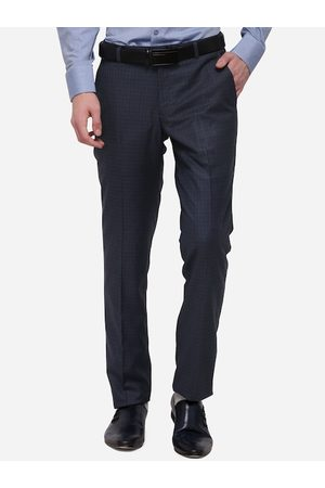 JADE BLUE Men Navy Blue & Grey Skinny Fit Checked Formal Trousers