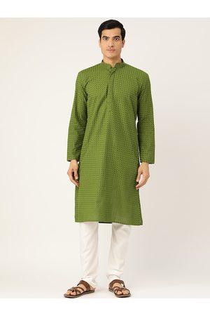 RAJUBHAI HARGOVINDAS Men Green & White Pure Cotton Embroidered Kurta with Churidar