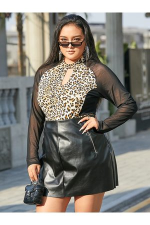 YOINS Plus Size Patchwork Leopard Cut Out Long Sleeves Tee