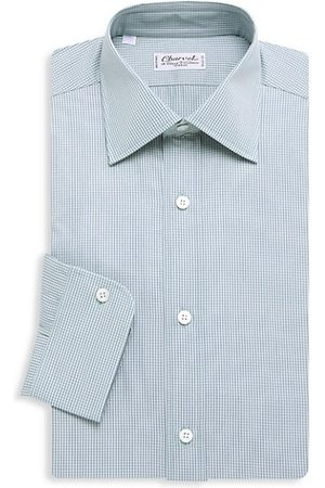 Charvet Mini Windowpane Check Dress Shirt