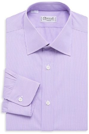 Charvet Micro Windowpane Check Silk Dress Shirt