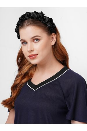ToniQ Hair Accessories - Black Satin Alice Ruffled Hairband