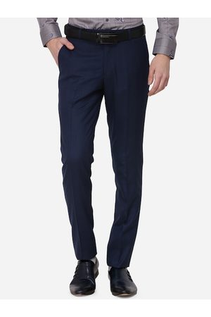 JADE BLUE Men Navy Blue Tapered Fit Checked Formal Trousers