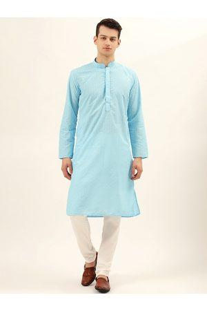 RAJUBHAI HARGOVINDAS Men Blue & Off-White Chikankari Embroidered Pure Cotton Kurta Set