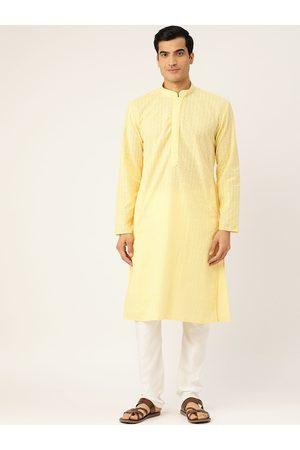 RAJUBHAI HARGOVINDAS Men Yellow & White Embroidered Kurta with Churidar