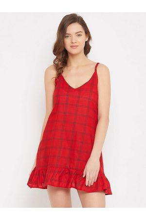 Clovia Baby Nightdresses & Shirts - Women Red & Black Checked Baby Doll