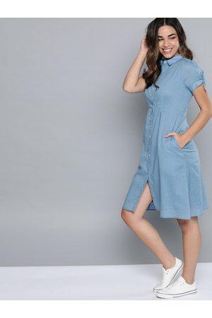 Mast & Harbour Women Blue Self-Striped Shirt Dress