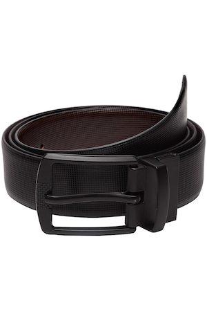 WELBAWT Men Belts - Men Black & Brown Textured Belt