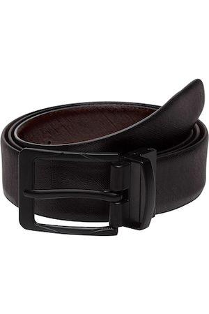 WELBAWT Men Black & Brown Textured Reversible Leather Belt
