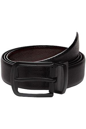 WELBAWT Men Belts - Men Black & Brown Textured Reversible Leather Belt