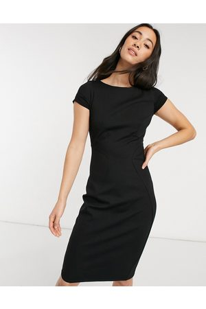 Closet Pencil dress with ruched cap sleeve in