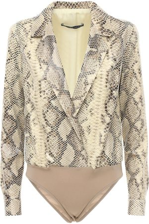 Zeynep Arcay Women Bodysuits - Shirt-style Snake Print Leather Bodysuit