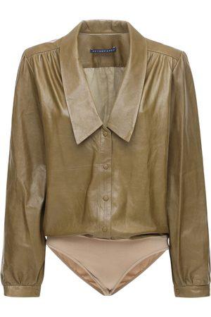 Zeynep Arcay Women Bodysuits - Leather Bodysuit W/ Collar