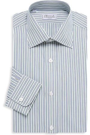 Charvet Men Shirts - Bold Contrast Medium Striped Silk Dress Shirt