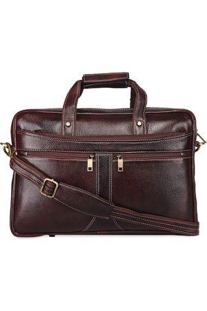 GENWAYNE Men Brown Solid Leather Laptop Messenger Bag