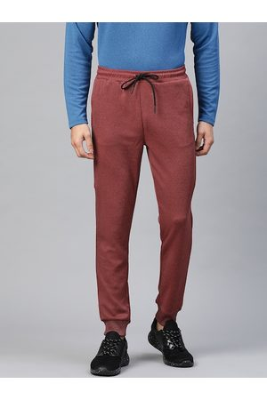 Alcis Men Rust Red Straight Fit Solid Outdoor Joggers