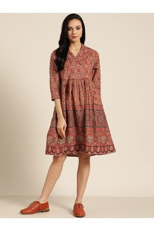 Sangria Women Rust Red & Beige Printed Pure Cotton A-Line Dress