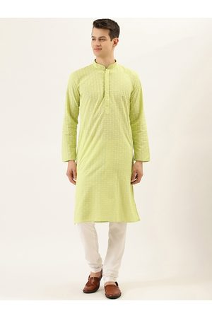RAJUBHAI HARGOVINDAS Men Lime Green & White Chikankari Embroidered Kurta with Churidar