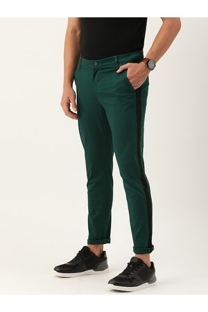 The Indian Garage Co Men Green Slim Fit Solid Chinos