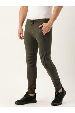 The Indian Garage Co Men's Olive Solid Track Pants